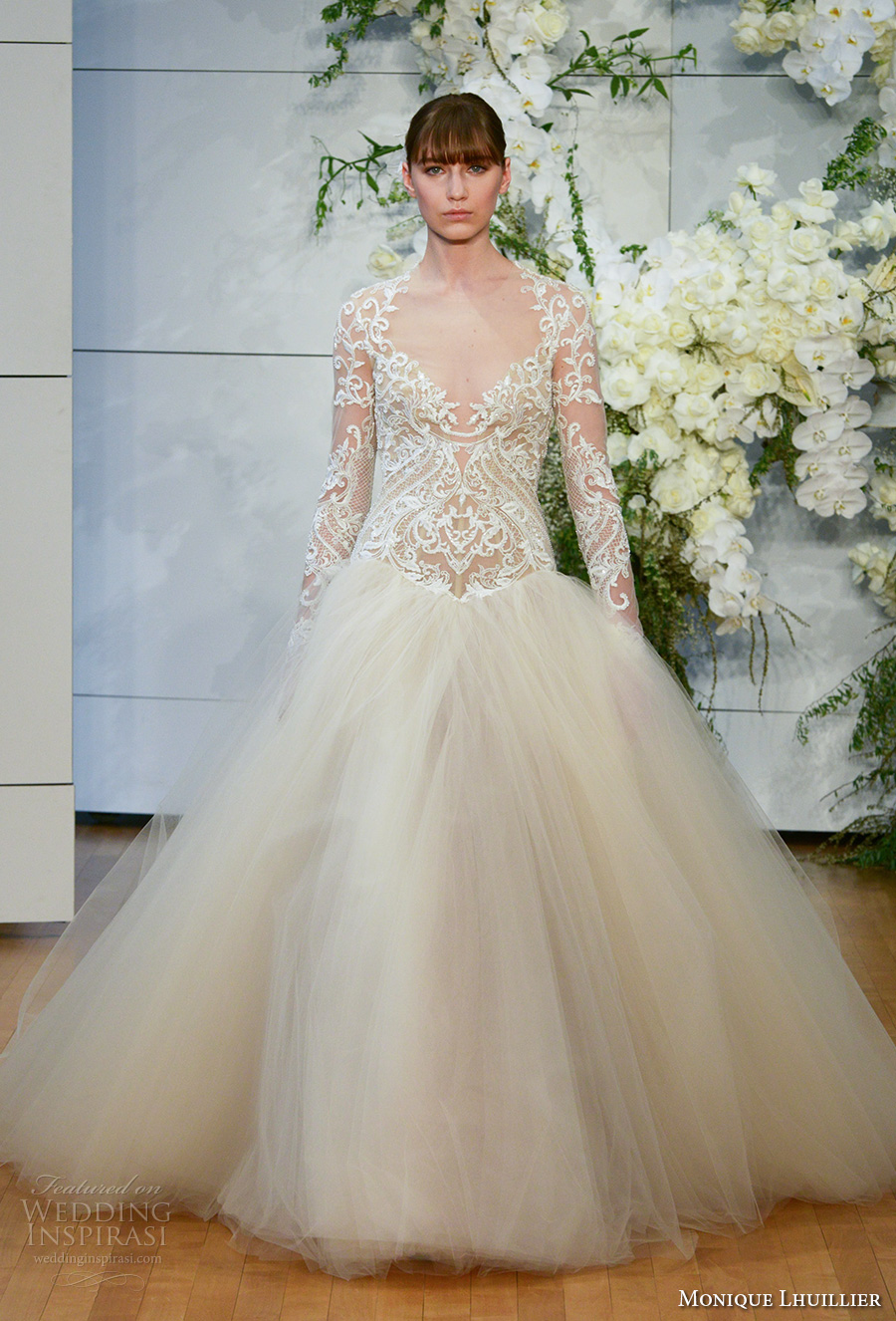 monique lhuillier spring 2018 bridal long sleeves halter v neck heavily embellished lace bodice tulle skirt ivory color princess ball gown covered lace back chapel (marguerite) mv