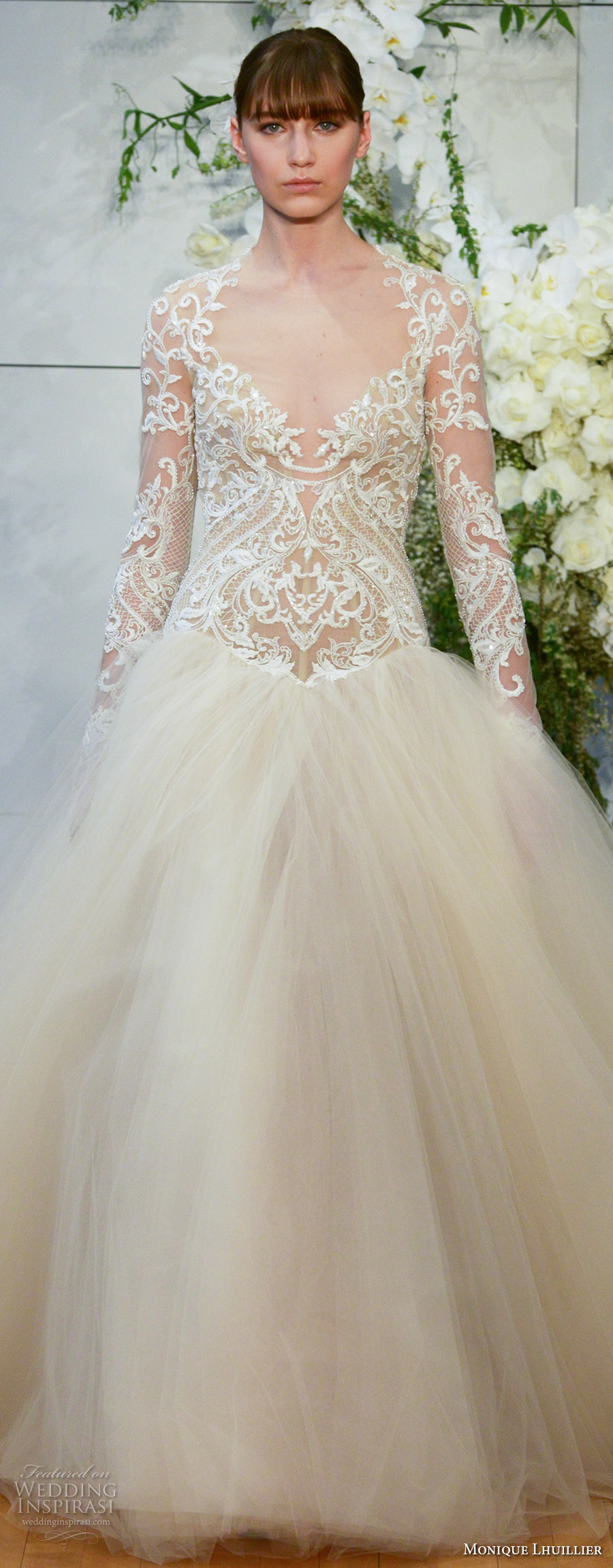 monique lhuillier spring 2018 bridal long sleeves halter v neck heavily embellished lace bodice tulle skirt ivory color princess ball gown covered lace back chapel (marguerite) zv