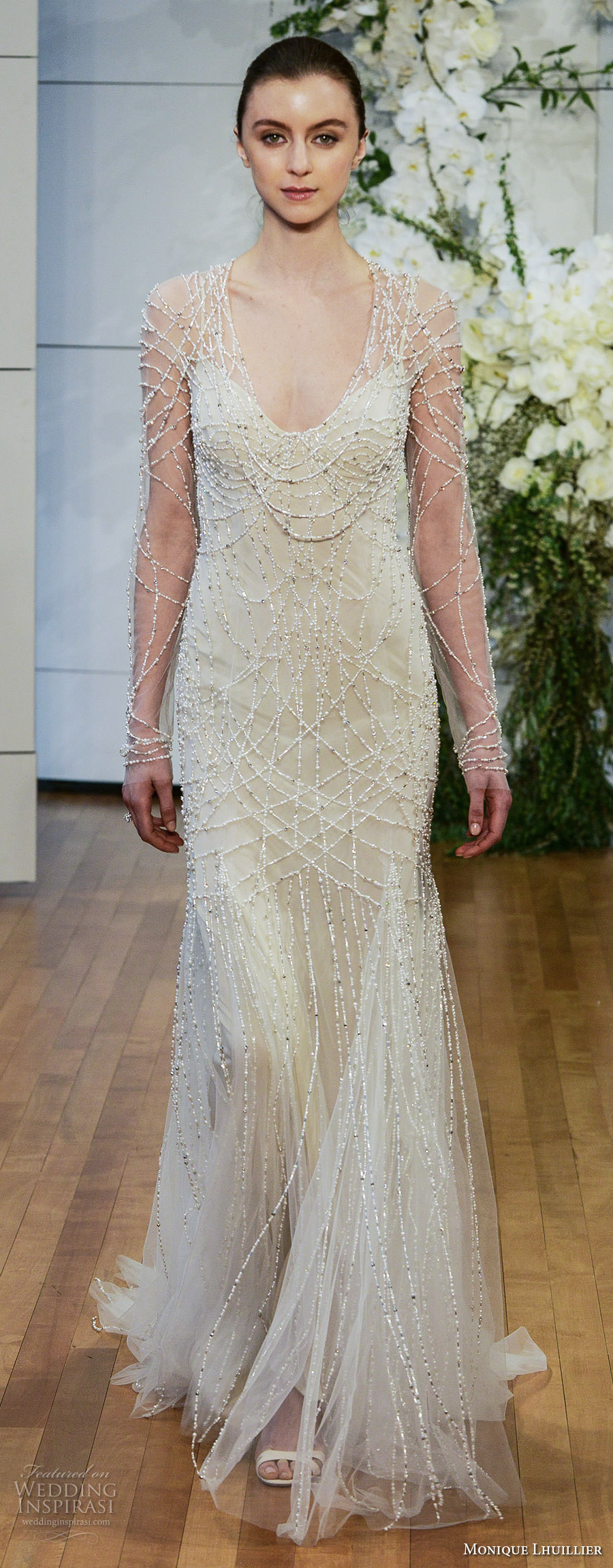 monique lhuillier spring 2018 bridal long sleeves spagetti strap scoop neckline full embellishment beaded elegant glamorous column wedding dress covered beaded back chapel train (samathan) mv