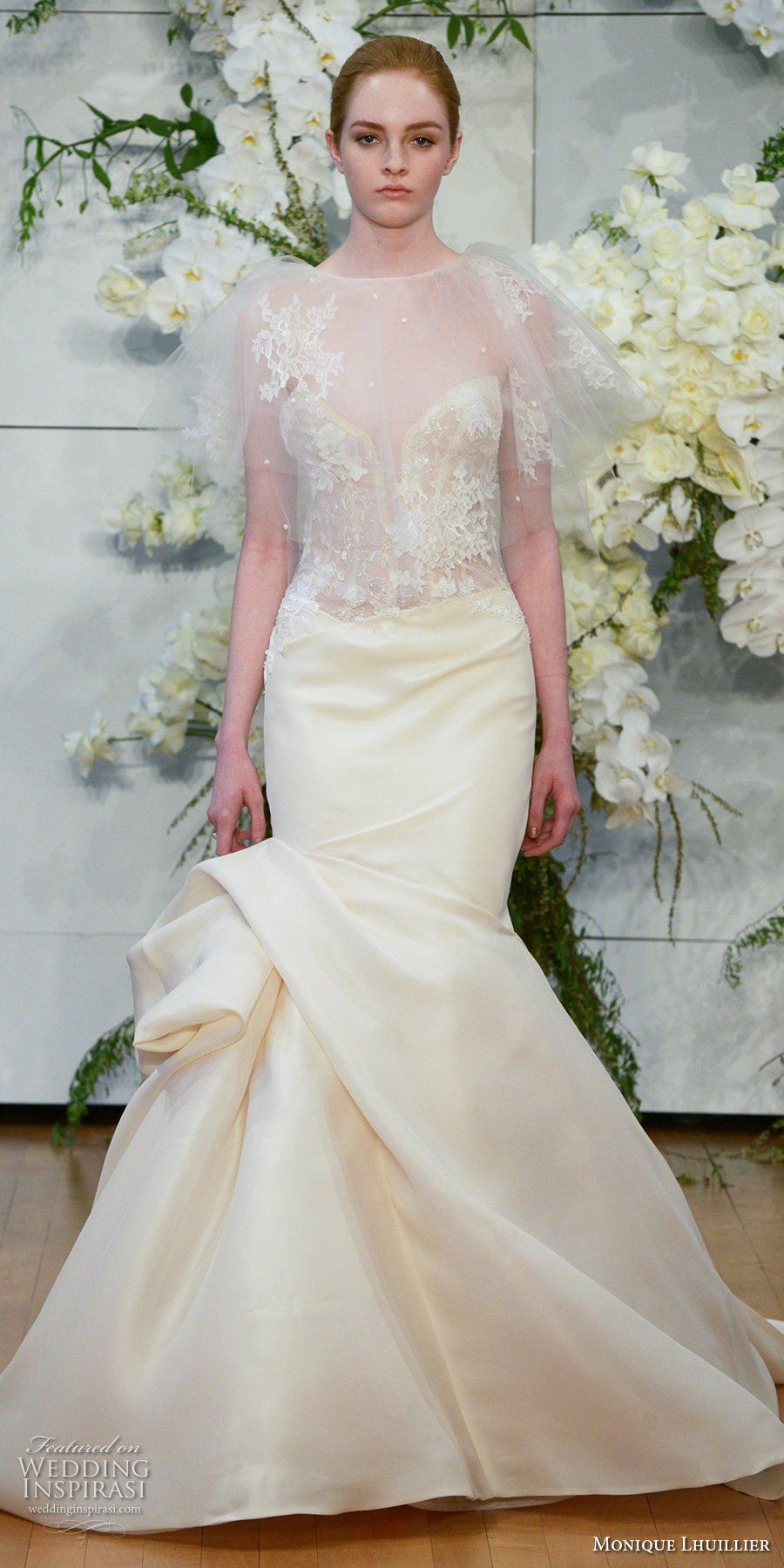 monique lhuillier spring 2018 bridal sheer bell sleeves illusion jewel deep plunging sweetheart neckline heavily embellished bodice elegant mermaid wedding dress chapel train (jamie) mv