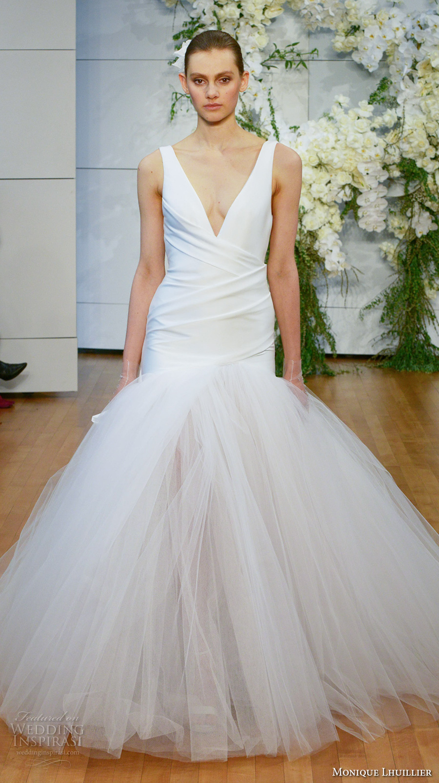 monique lhuillier spring 2018 bridal sleeveless deep v neck simple wrap over bodice tulle skirt romantic drop waist a  line wedding dress open scoop back chapel train (valerie) mv