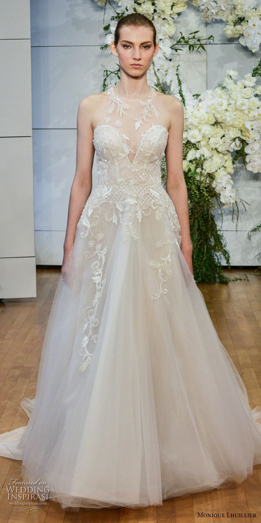 monique lhuillier spring 2018 bridal sleeveless illusion halter deep sweetheart neckline heavily embellished bodice romantic a  liine wedding dress keyhole back chapel train (sage) mv
