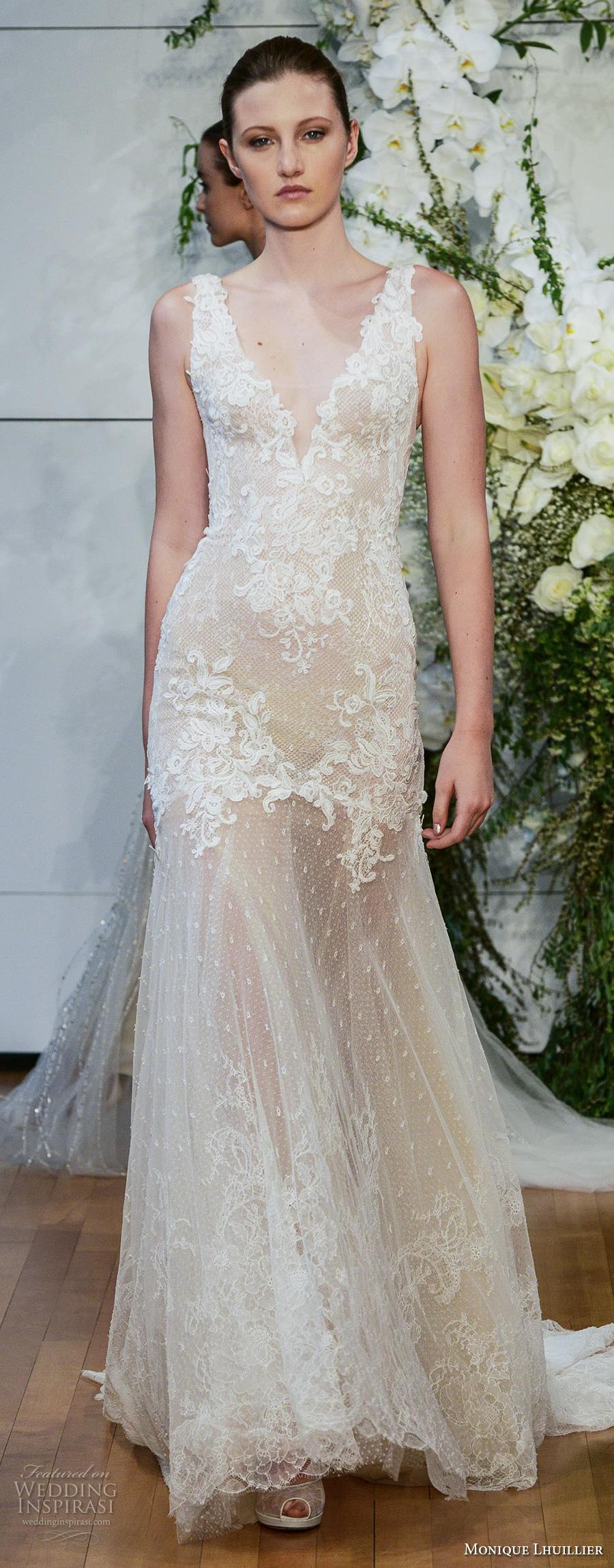 monique lhuillier spring 2018 bridal sleeveless v neck heavily embellished bodice elegant column wedding dress open scoop back short train (dylan) mv