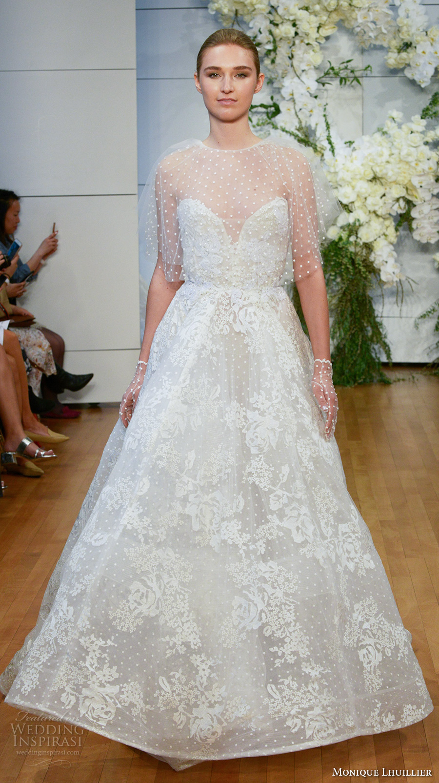 monique lhuillier spring 2018 bridal strapless illusion jewel sweetheart neckline capelet full embellishment a  line wedding dress sweep train (beatrice) mv