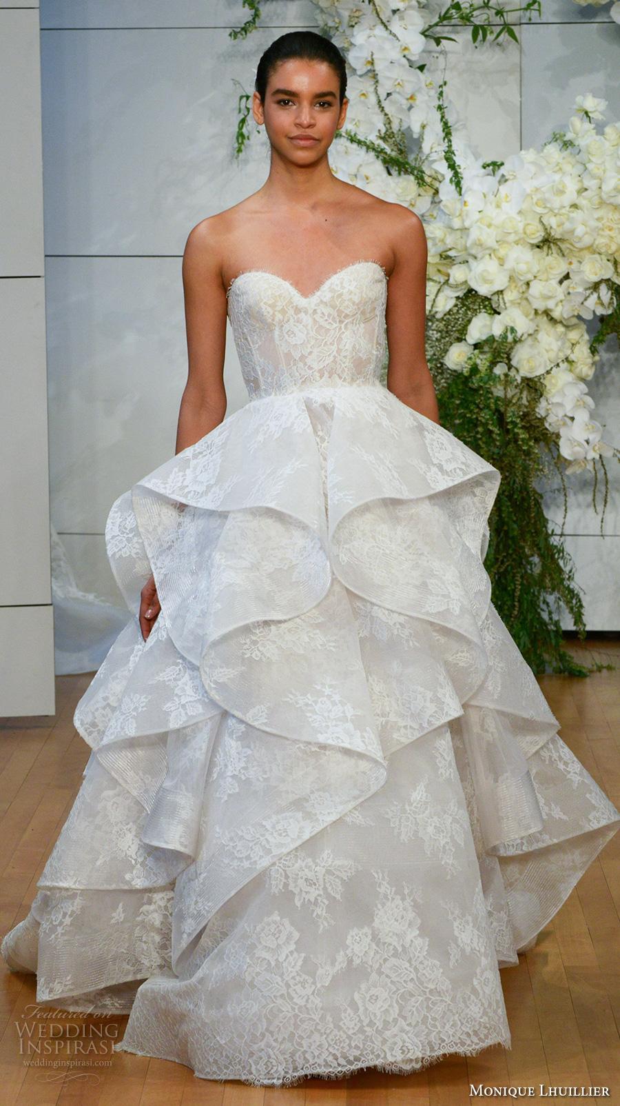 monique lhuillier spring 2018 bridal strapless sweetheart neckline full embellishment layered skirt romantic princess a  line wedding dress chapel train (sofia) mv