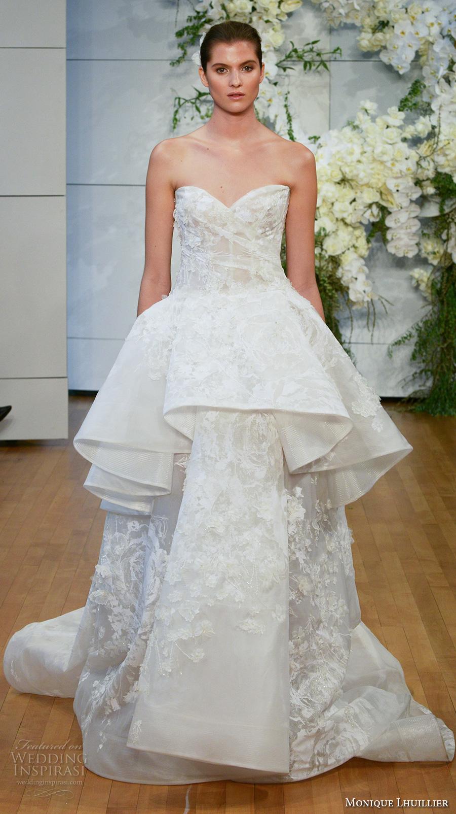 monique lhuillier spring 2018 bridal strapless sweetheart neckline full embellishment peplum a  line wedding dress sweep train (gardenia) mv