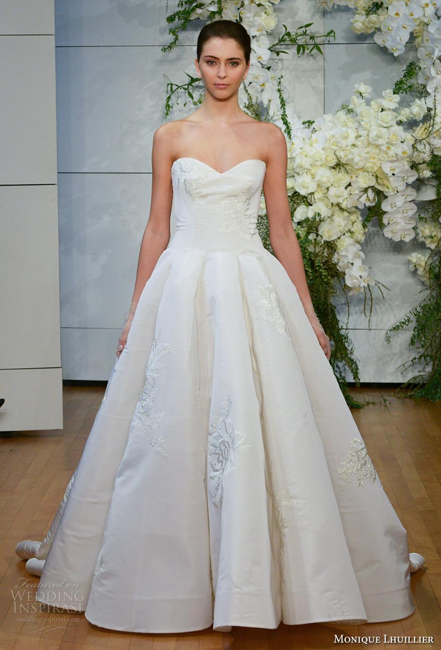 monique lhuillier spring 2018 bridal strapless sweetheart neckline light embellishment ball gown wedding dress chapel train (juliette) mv