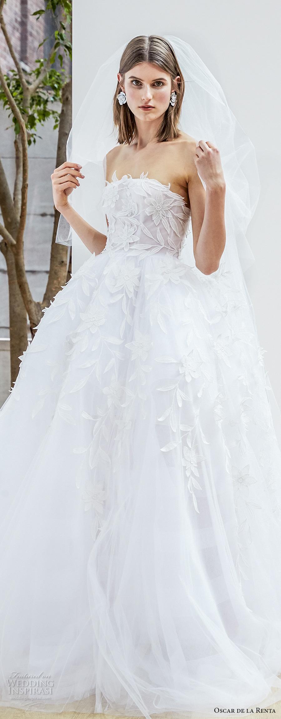 d06f6c6bc1f oscar de la renta spring 2018 bridal strapless straight across neckline  heavily embellished bodice romantic princess