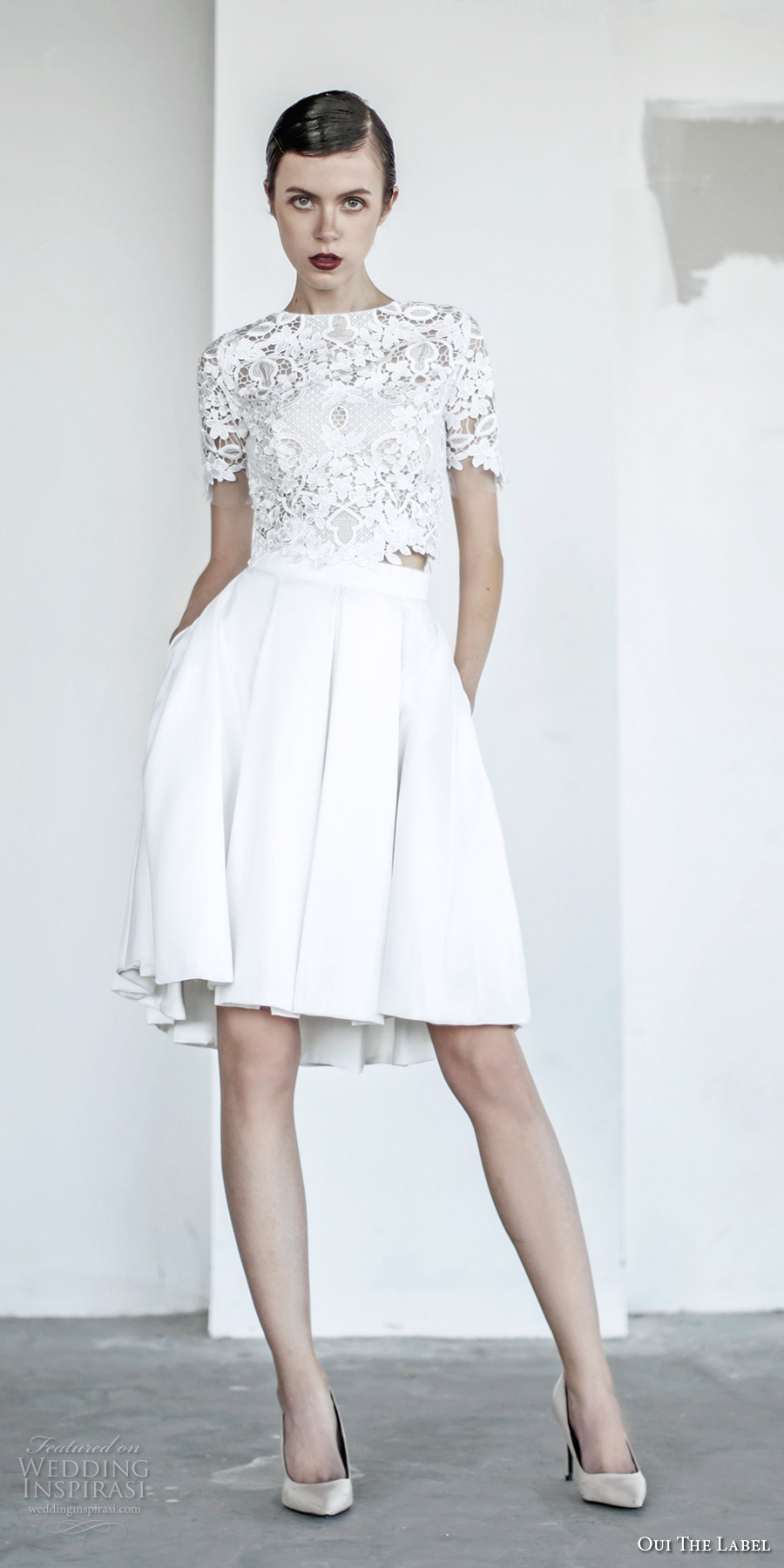 oui the label 2017 bridal short sleeves jewel neck heavily embellished bodice crop top 2 piece romantic pleated skirt short wedding dress covered lace back sweep train (9) mv