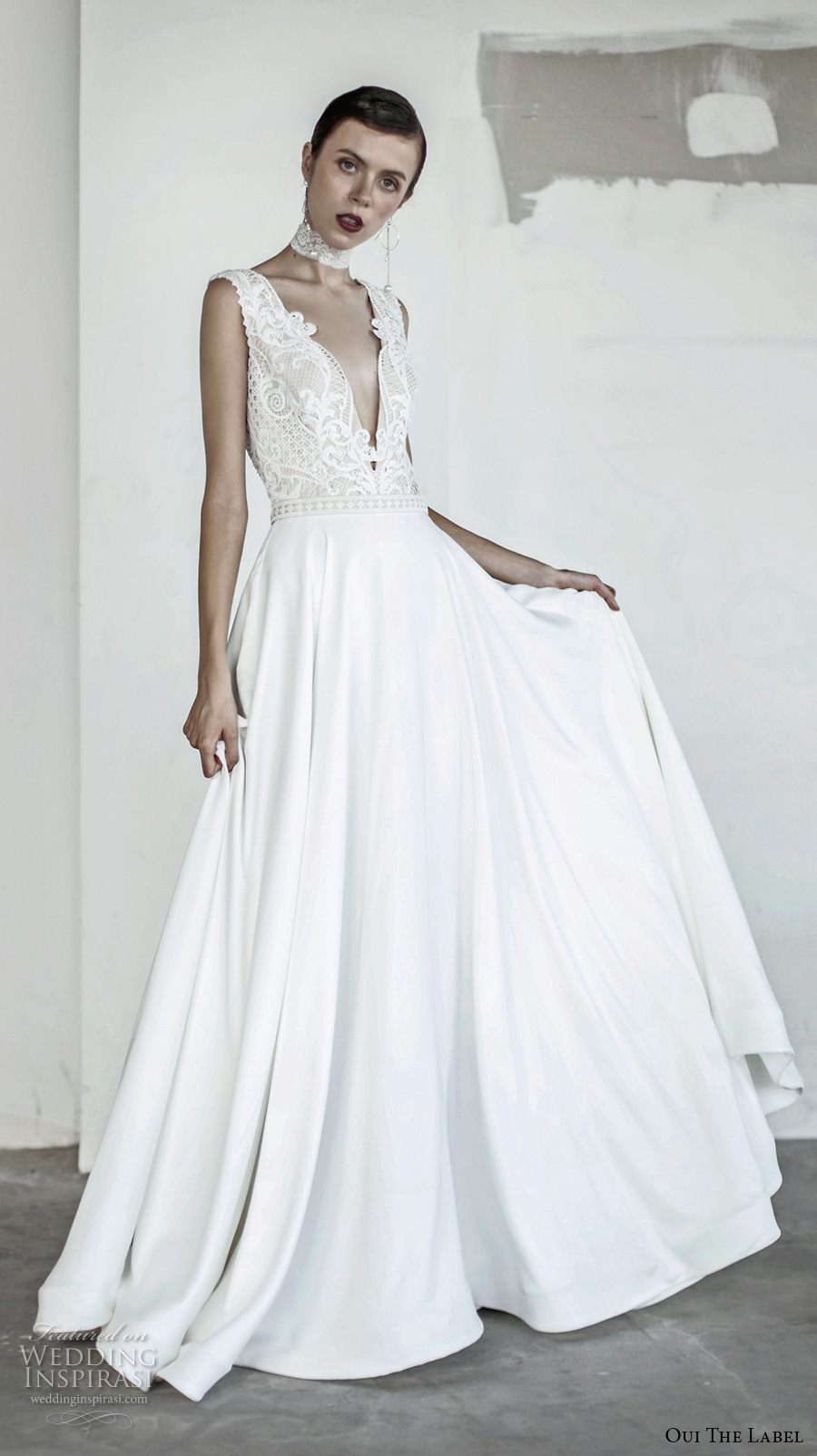 oui the label 2017 bridal sleeveless deep v neck heavily embellished bodice romantic sexy a line wedding dress open v back chapel train (12) mv