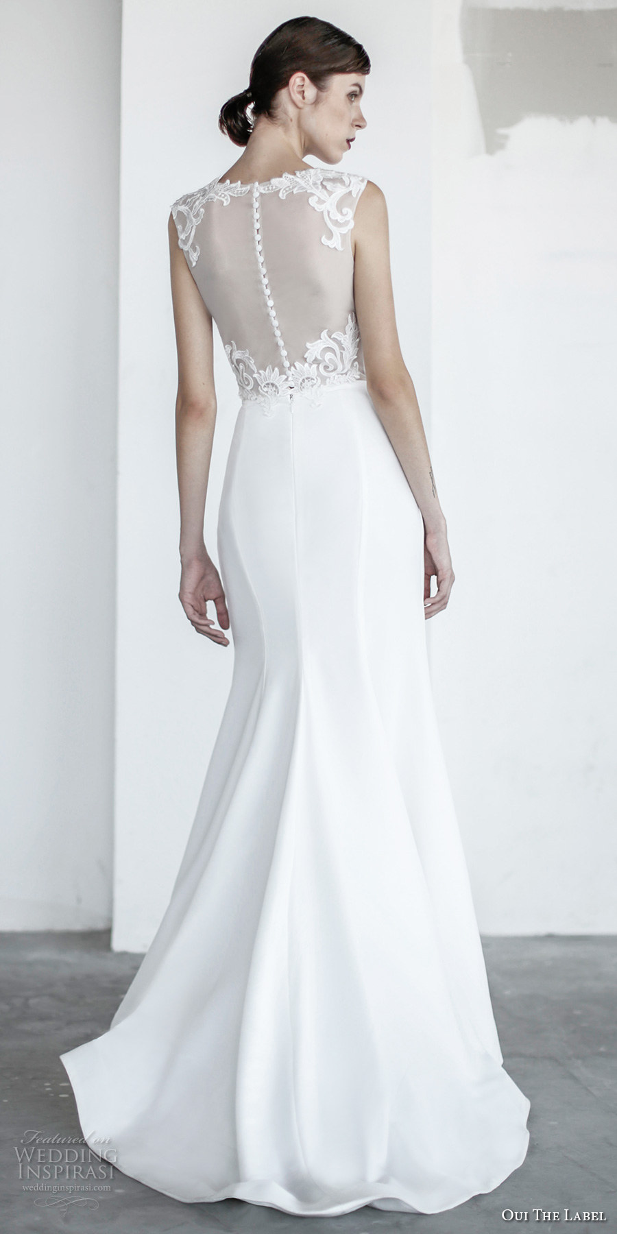 oui the label 2017 bridal sleeveless jewel neck sheer heavily embellished bodice elegant fit and flare wedding dress sheer back sweep train (4) bv