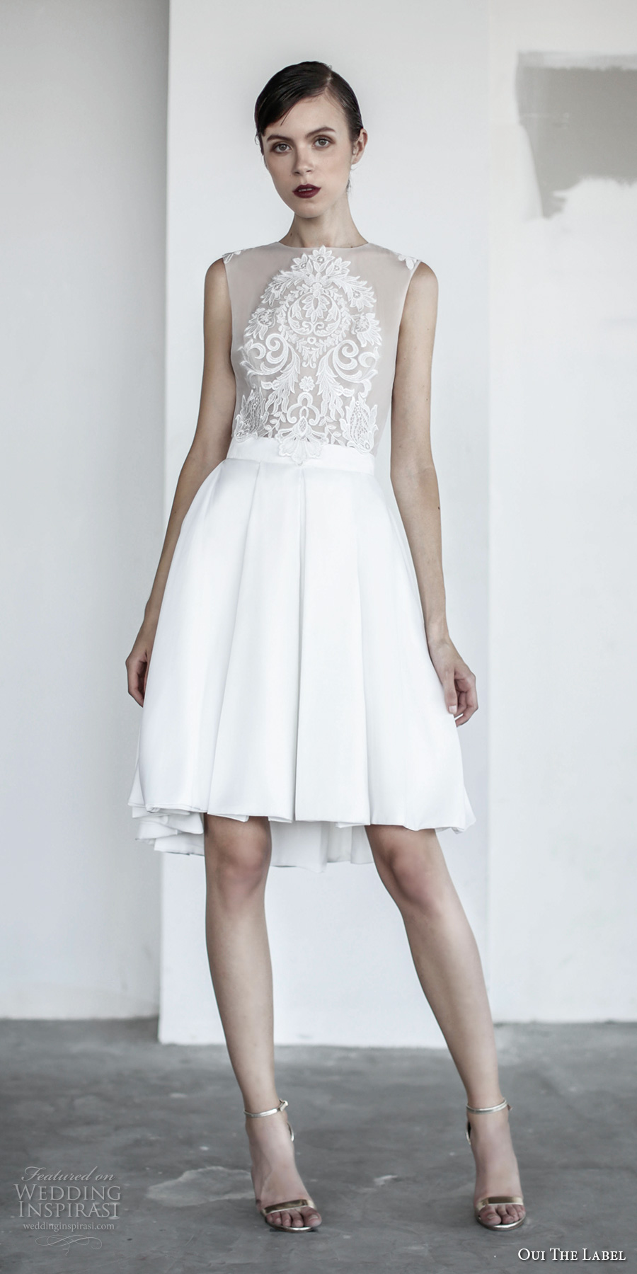 oui the label 2017 bridal sleeveless jewel neck sheer heavily embellished bodice romantic above the knee short wedding dress with pockets sheer back (6) mv