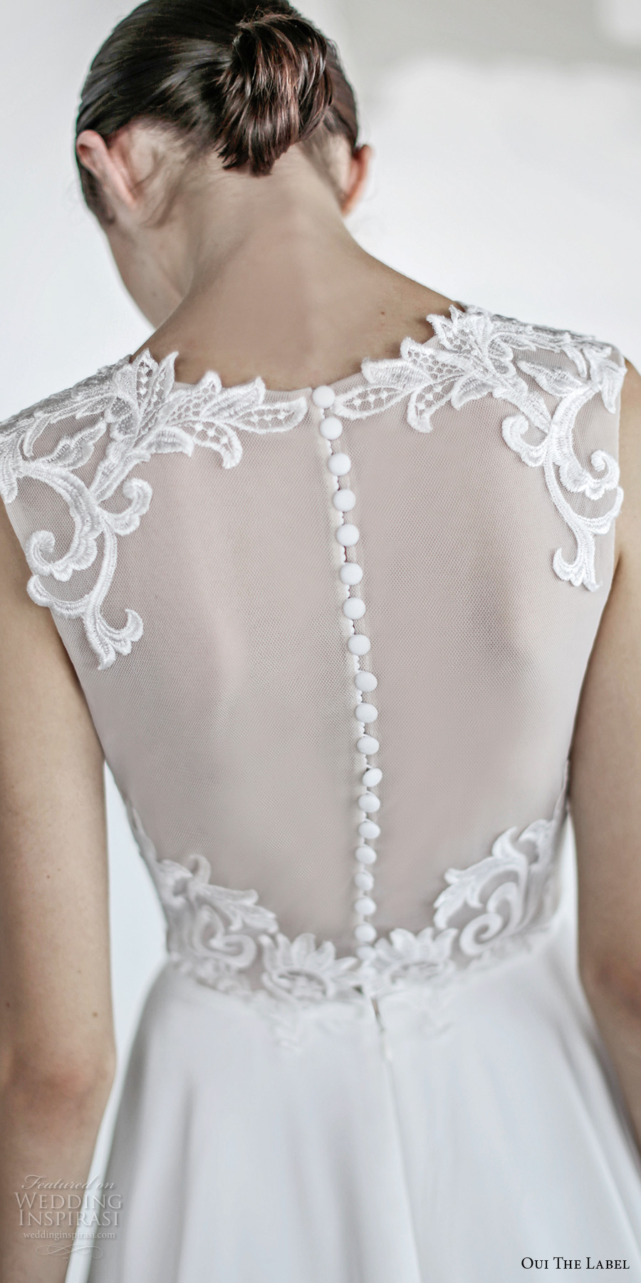 oui the label 2017 bridal sleeveless jewel neck sheer heavily embellished bodice romantic above the knee short wedding dress with pockets sheer back (6) zbv