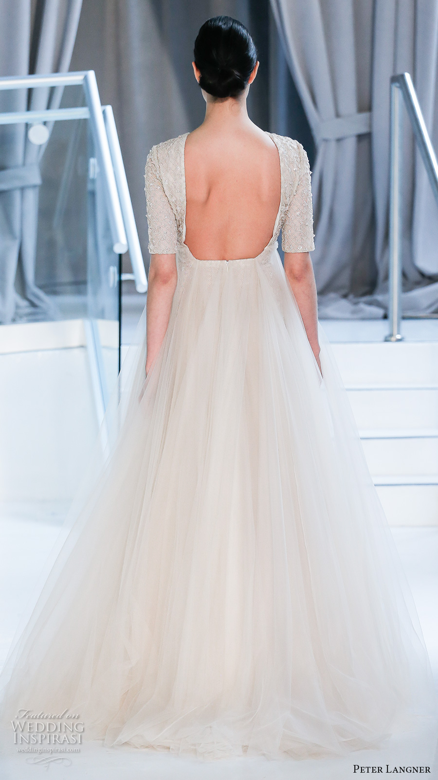 peter langner spring 2018 bridal half sleeves jewel neck full embellishment tulle overskirt a  line wedding dress open square back sweep train (19) bv