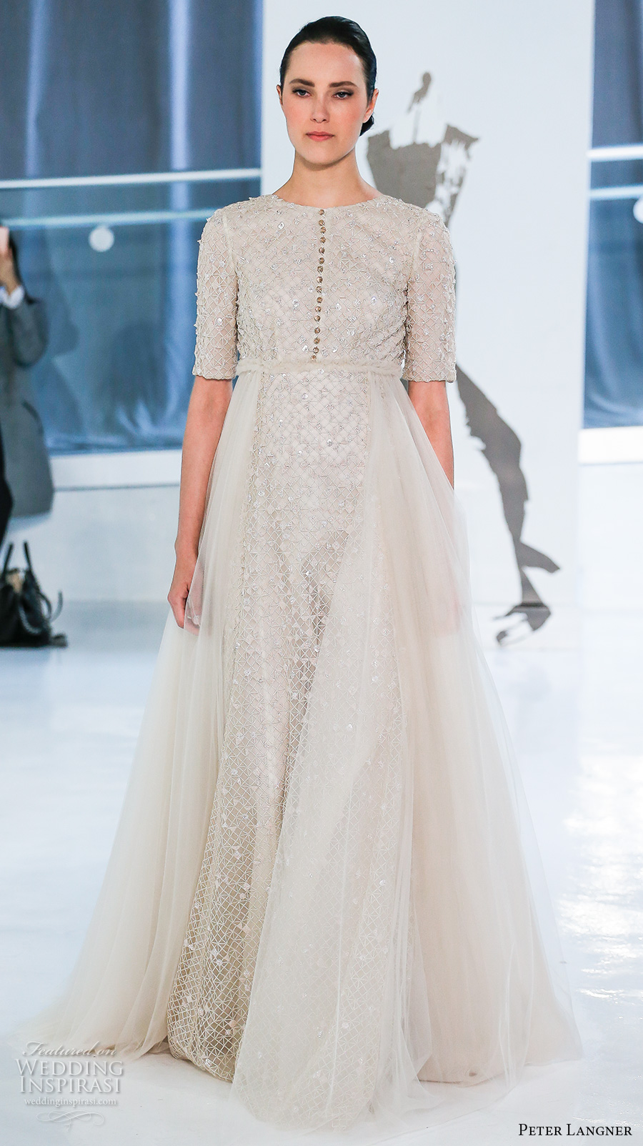 peter langner spring 2018 bridal half sleeves jewel neck full embellishment tulle overskirt a  line wedding dress open square back sweep train (19) mv