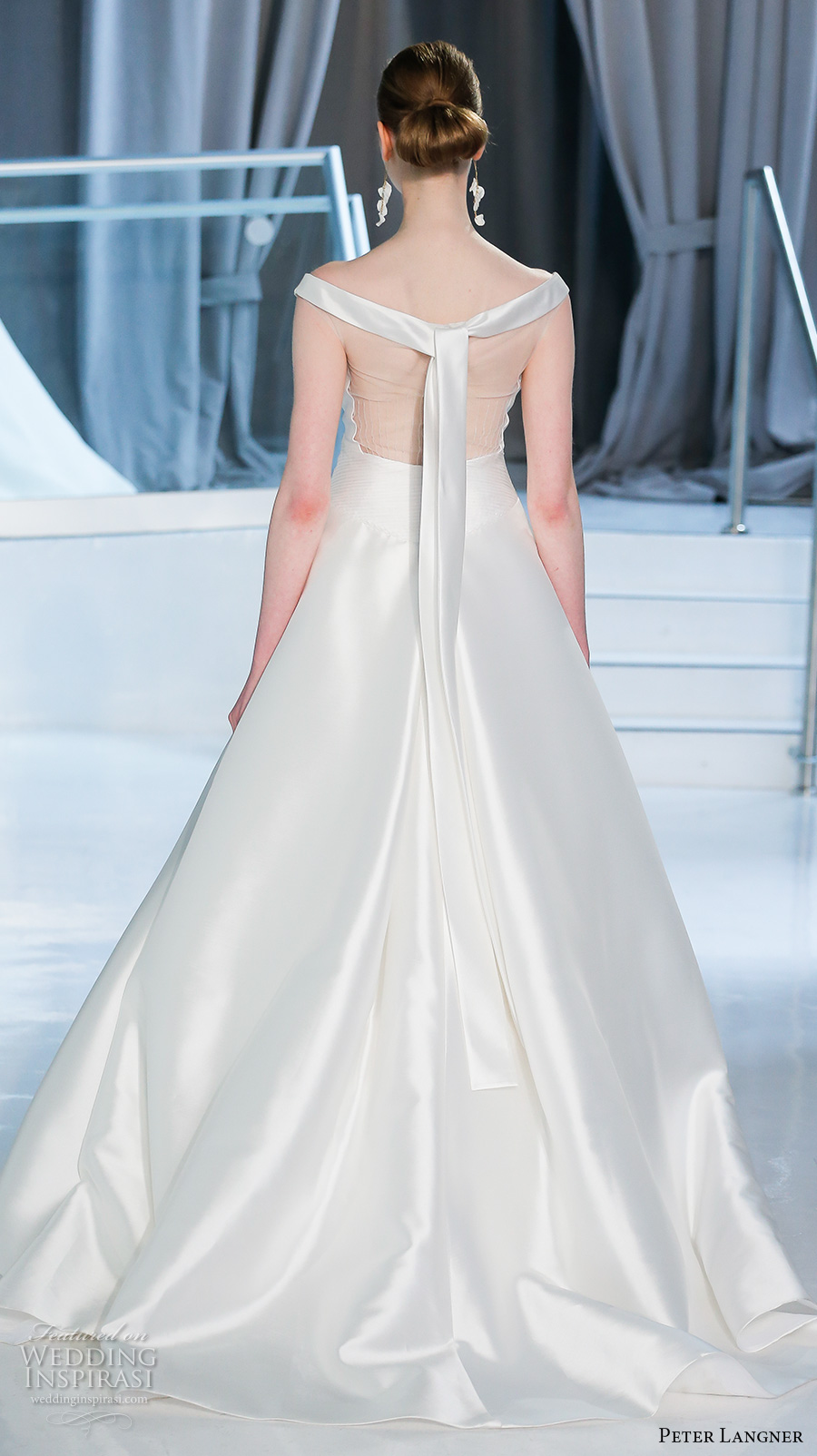 peter langner spring 2018 bridal off the shoulder straight across neckline simple clean satin a  line wedding dress chapel train (05) bv