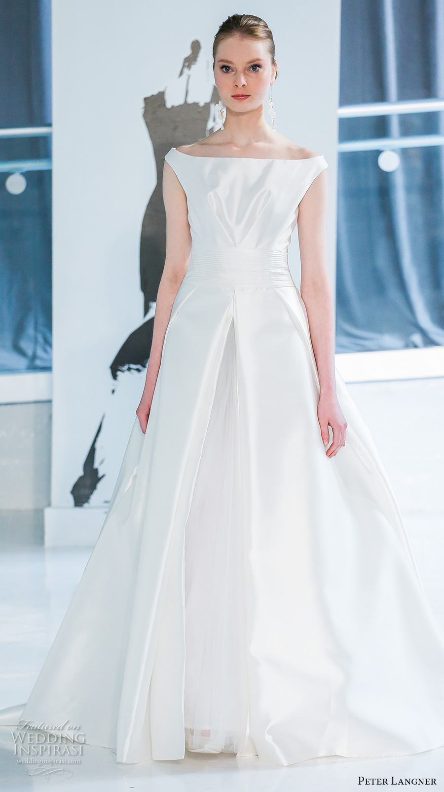 peter langner spring 2018 bridal off the shoulder straight across neckline simple clean satin a  line wedding dress chapel train (05) mv
