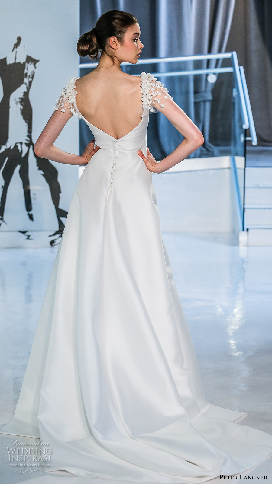 peter langner spring 2018 bridal puff sleeves straight across neckline simple clean elegant sheath wedding dress open v back chapel train (15) bv