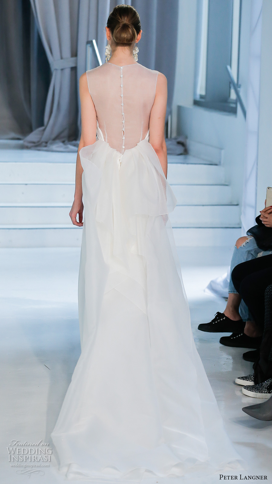 peter langner spring 2018 bridal sleeveless illusion jewel halter neck simple clean satin elegant sheath wedding dress sheer back chapel train (04) bv