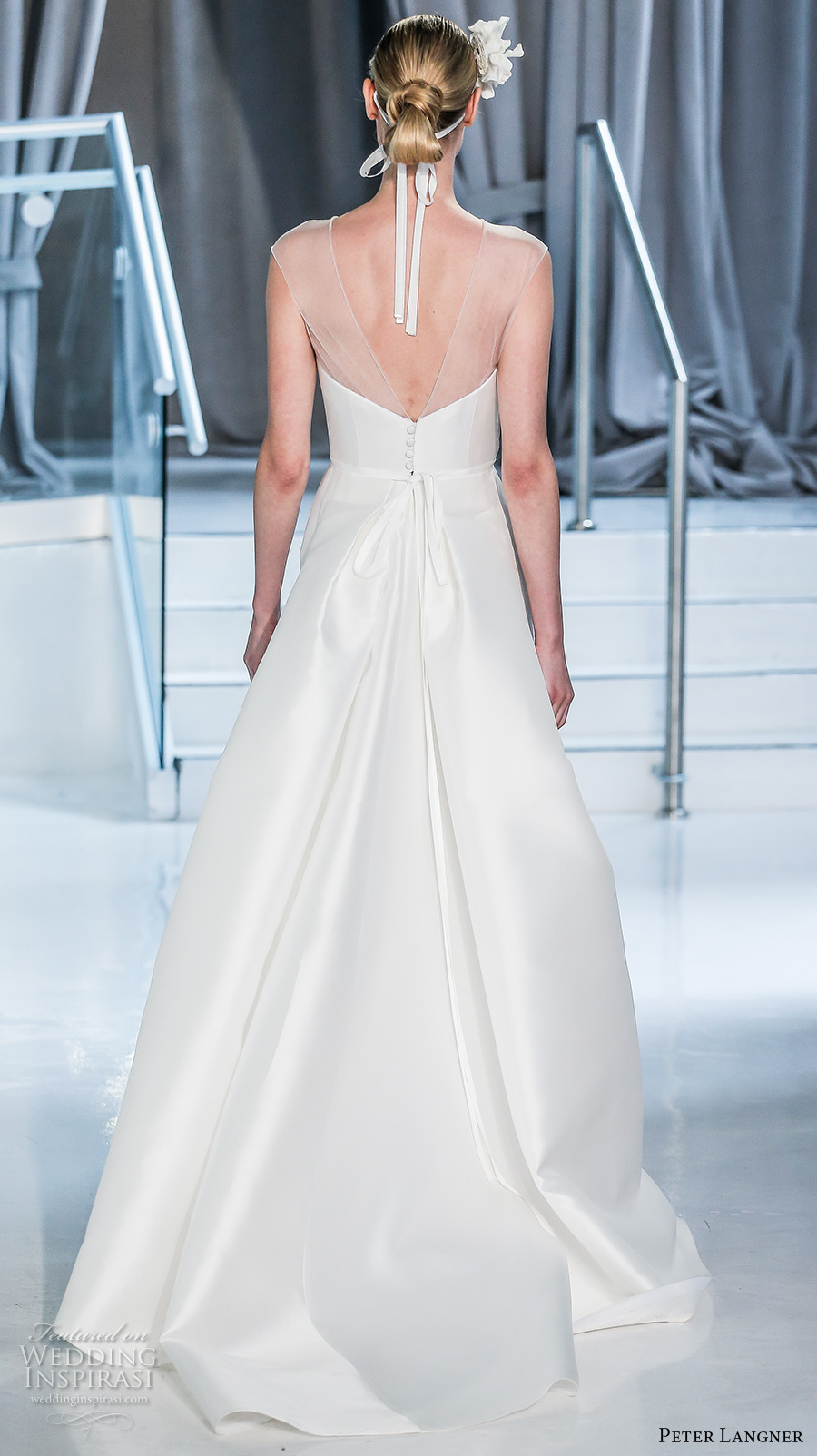 peter langner spring 2018 bridal sleeveless illusion jewel straight across neckline simple clean satin elegant sheath wedding dress chapel train (03) bv