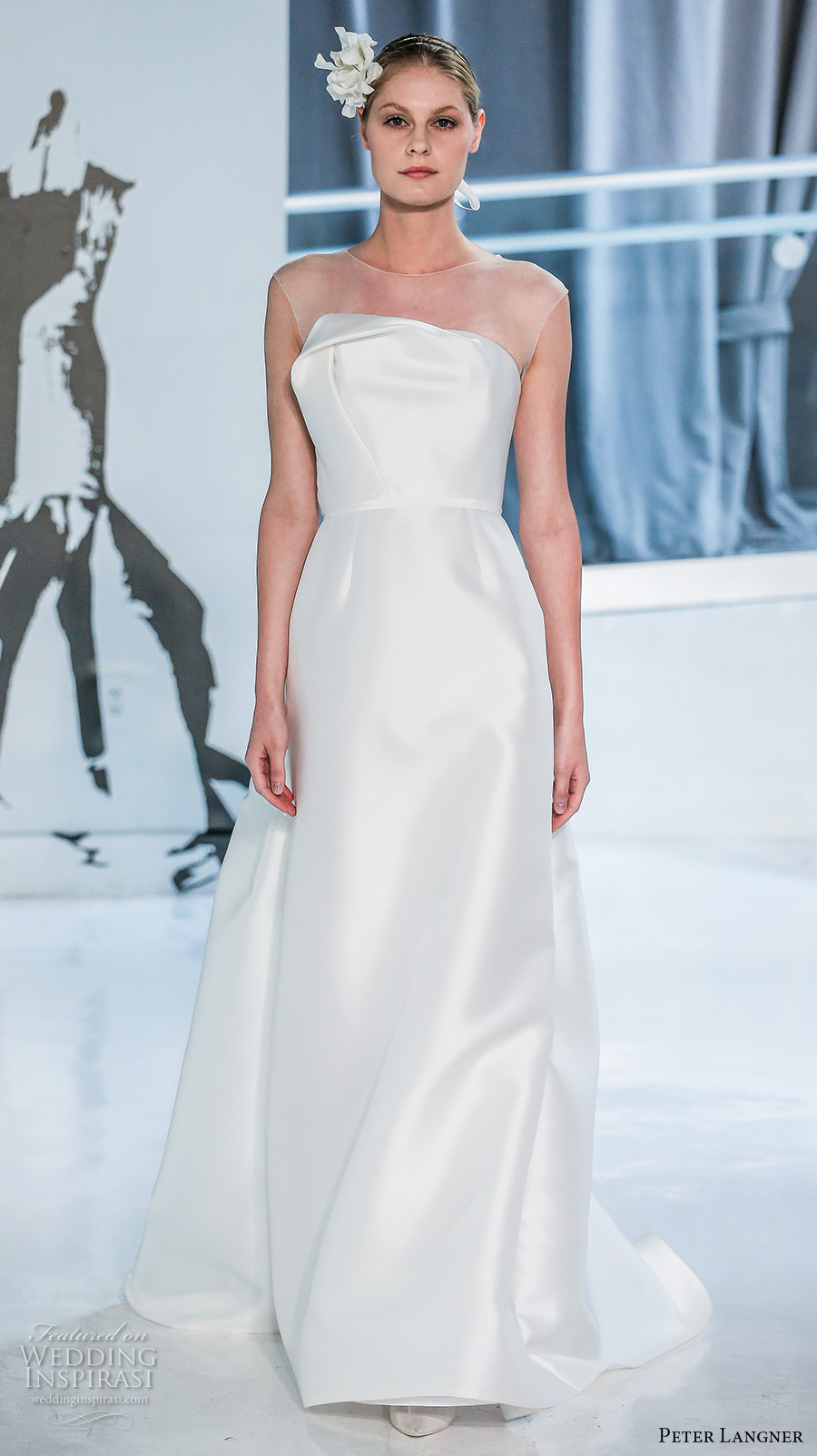 peter langner spring 2018 bridal sleeveless illusion jewel straight across neckline simple clean satin elegant sheath wedding dress chapel train (03) mv