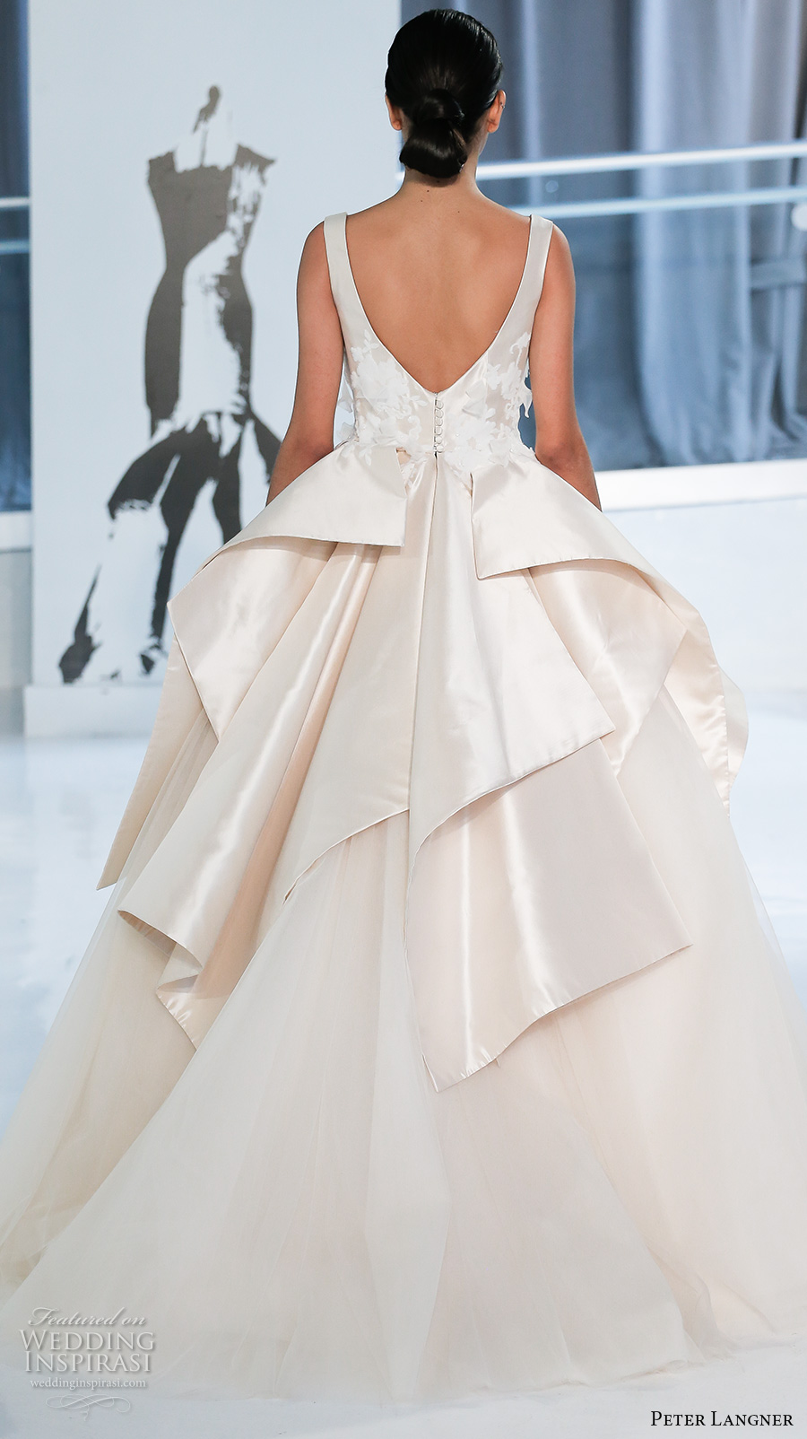 peter langner spring 2018 bridal sleeveless scoop neck heavily embellished bodice peplum ivory color princess ball gown wedding dress open v back chapel train (20) bv