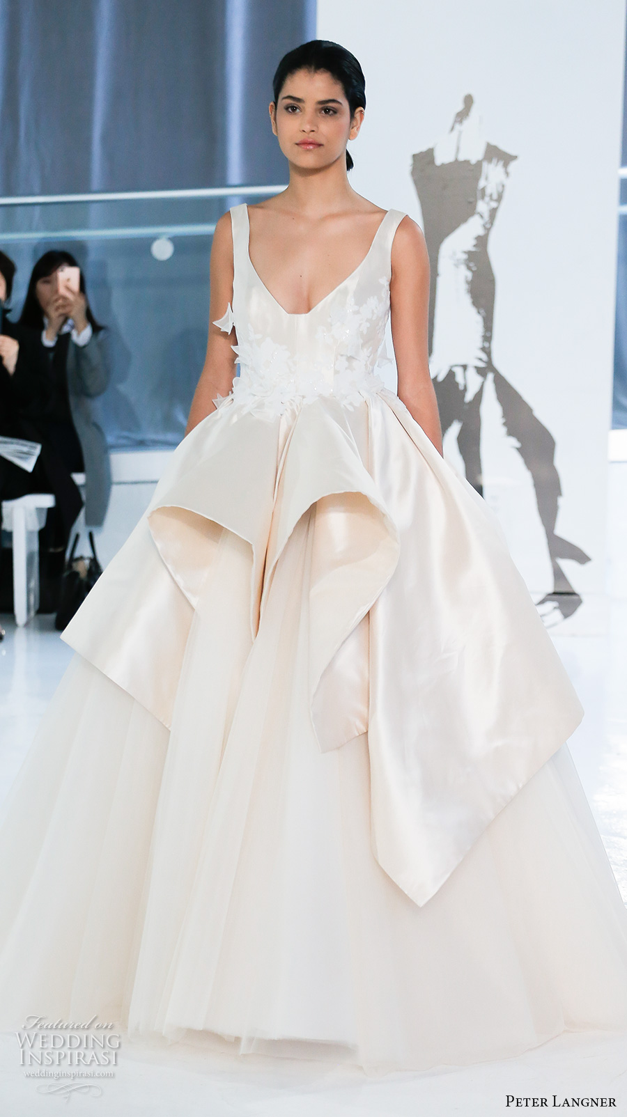 peter langner spring 2018 bridal sleeveless scoop neck heavily embellished bodice peplum ivory color princess ball gown wedding dress open v back chapel train (20) mv