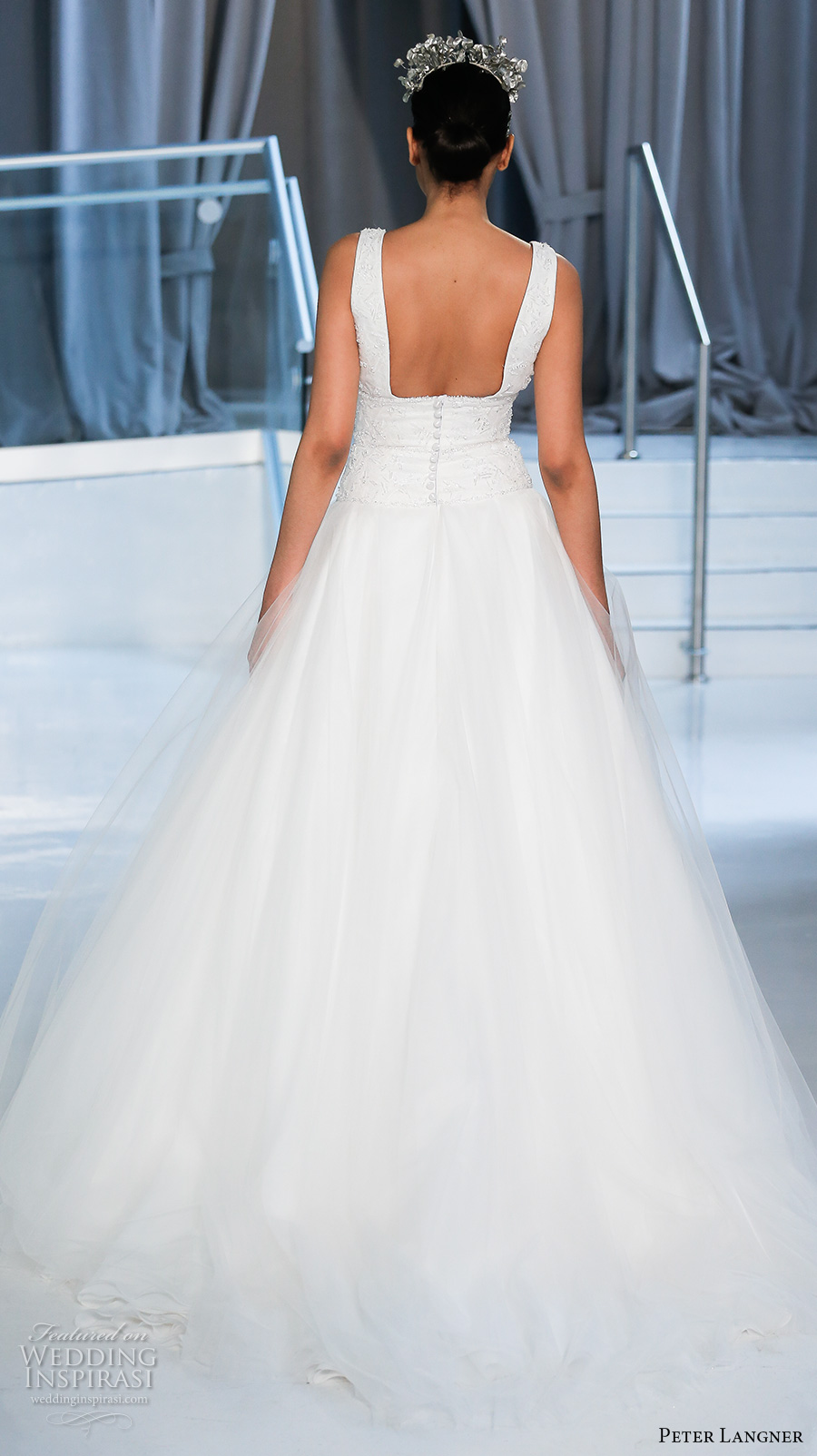 peter langner spring 2018 bridal sleeveless v neck heavily embellished bodice simple tulle skirt romantic a  line wedding dress open square back chapel train (10) bv