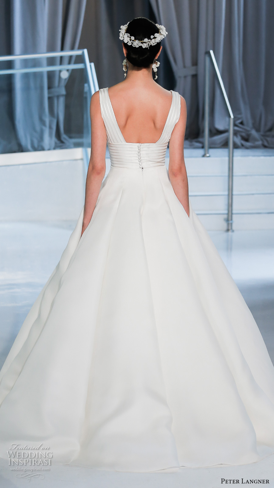 peter langner spring 2018 bridal sleeveless v neck lightly embellished bodice simple ball gown a  line wedding dress chapel train (07) bv