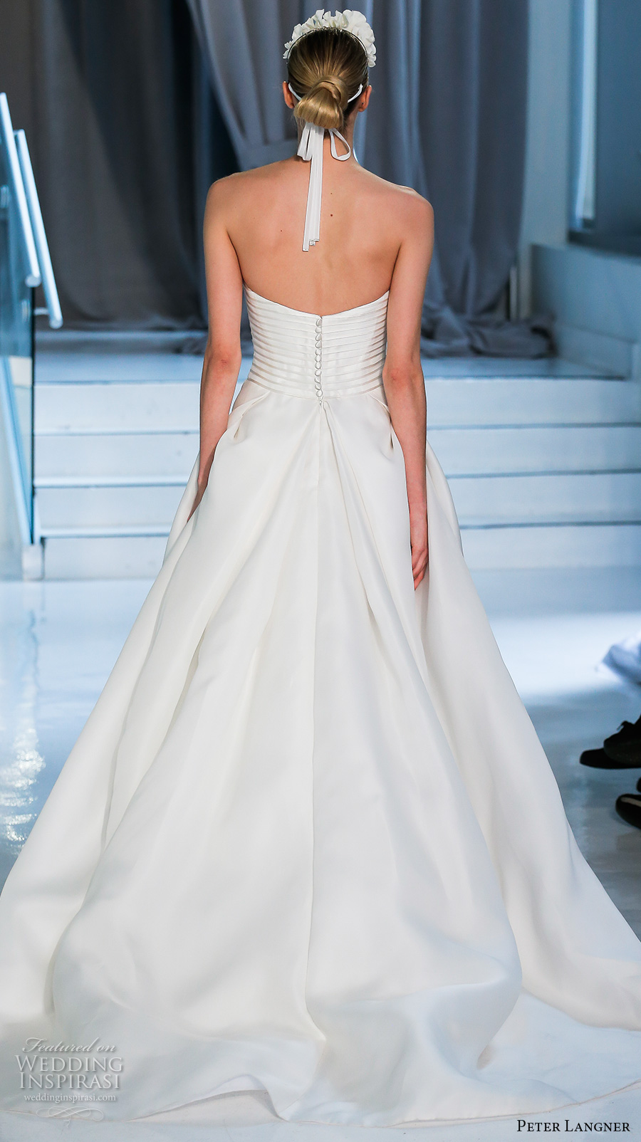 peter langner spring 2018 bridal strapless straight across lightly embellished bodice simple romantic elegant a  line wedding dress chapel train (07) bv