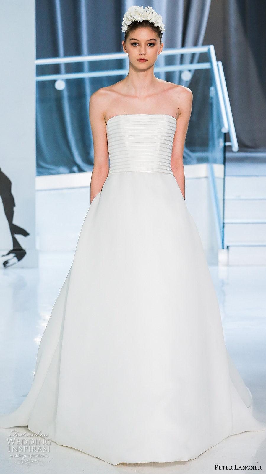 peter langner spring 2018 bridal strapless straight across lightly embellished bodice simple romantic elegant a  line wedding dress chapel train (07) mv