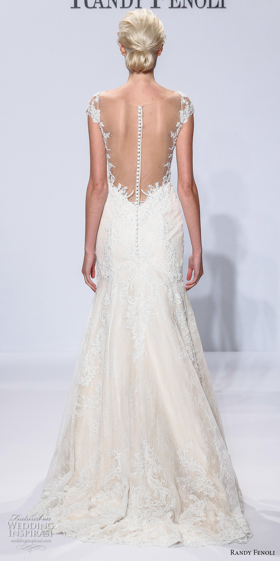 randy fenoli spring 2018 bridal cap sleeves deep plunging sweetheart neckline full embellishment fit and flare wedding dress sheer button back sweep train (09) bv