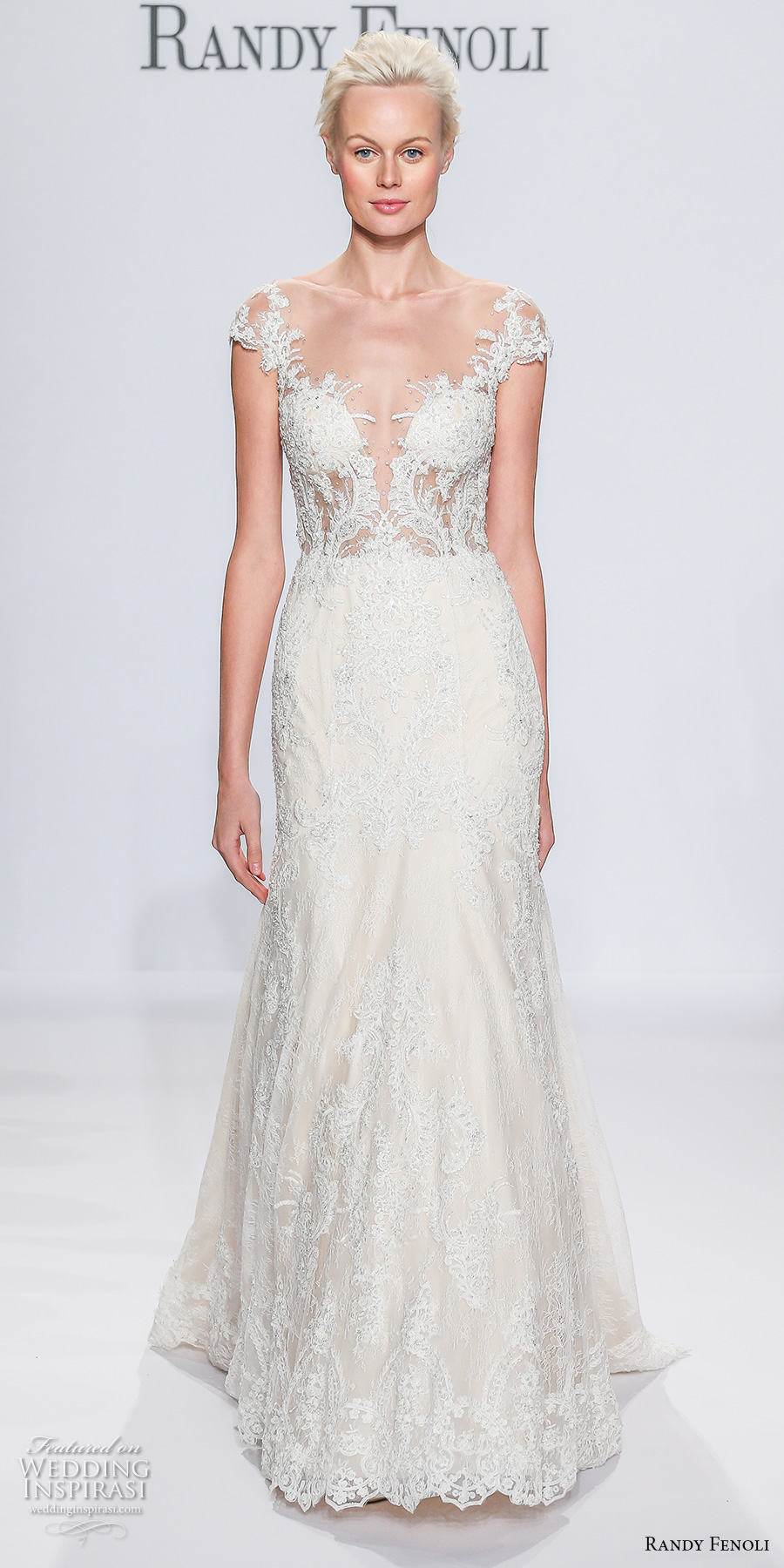 randy fenoli spring 2018 bridal cap sleeves deep plunging sweetheart neckline full embellishment fit and flare wedding dress sheer button back sweep train (09) mv