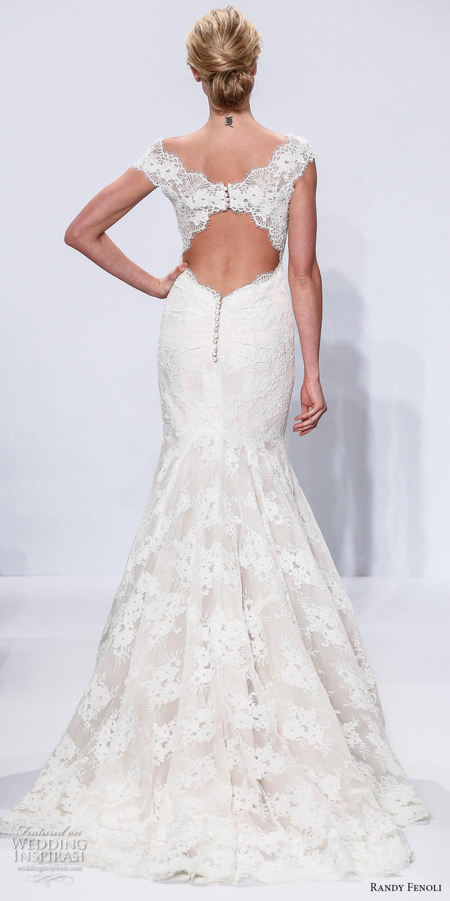 randy fenoli spring 2018 bridal cap sleeves v neck full embellishment elegant fit and flare wedding dress keyhole back chapel train (12) bv