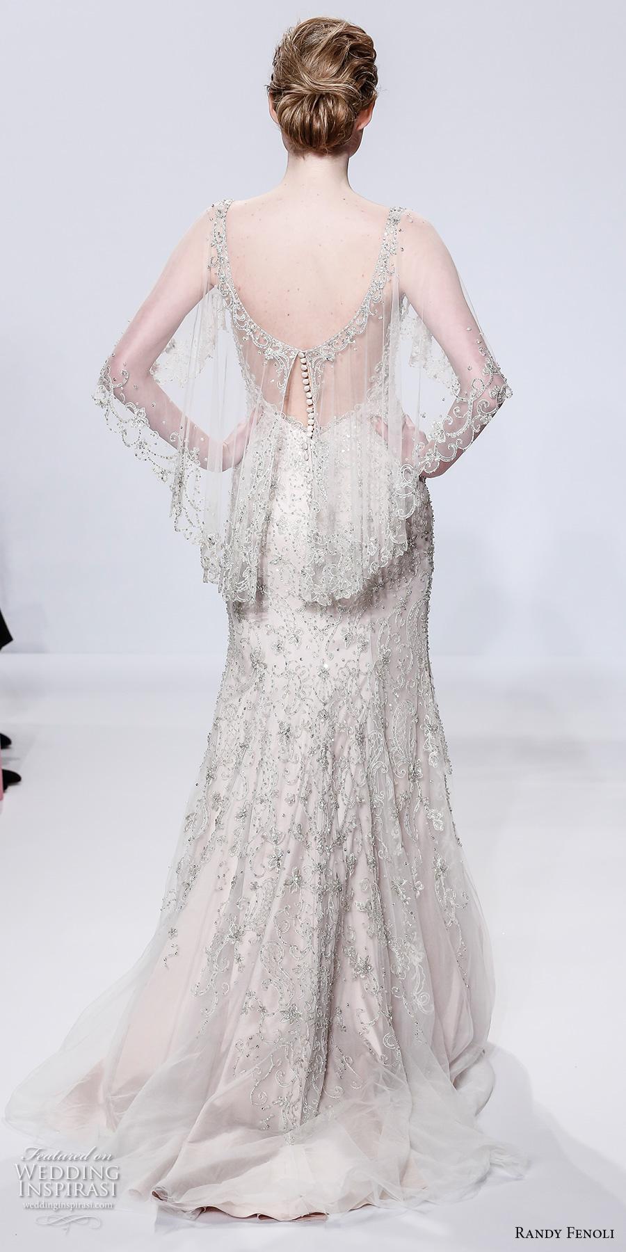 randy fenoli spring 2018 bridal sheer angel sleeves v neck full embellishment art deco glamorous elegant sheath wedding dress open scoop back sweep train (21) bv