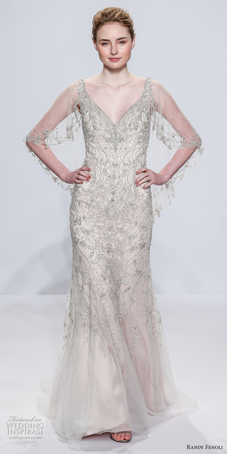 randy fenoli spring 2018 bridal sheer angel sleeves v neck full embellishment art deco glamorous elegant sheath wedding dress open scoop back sweep train (21) mv