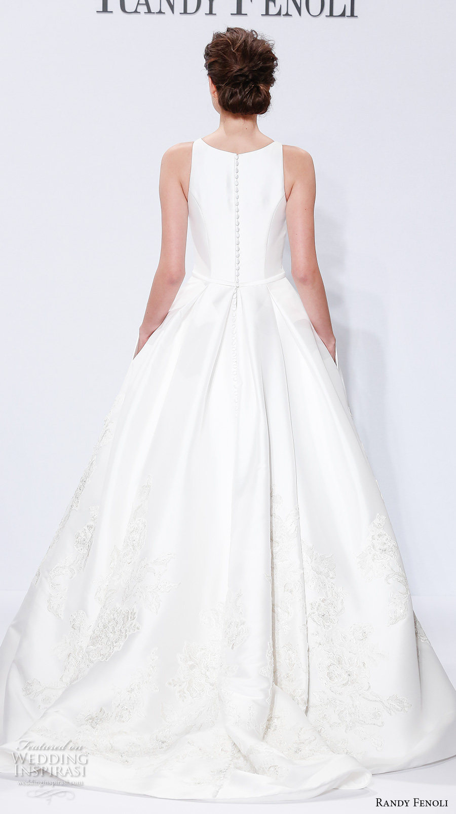 randy fenoli spring 2018 bridal sleeveless jewel neck simple clean embellished hem elegant a  line wedding dress with pockets covered back sweep train (06) bv