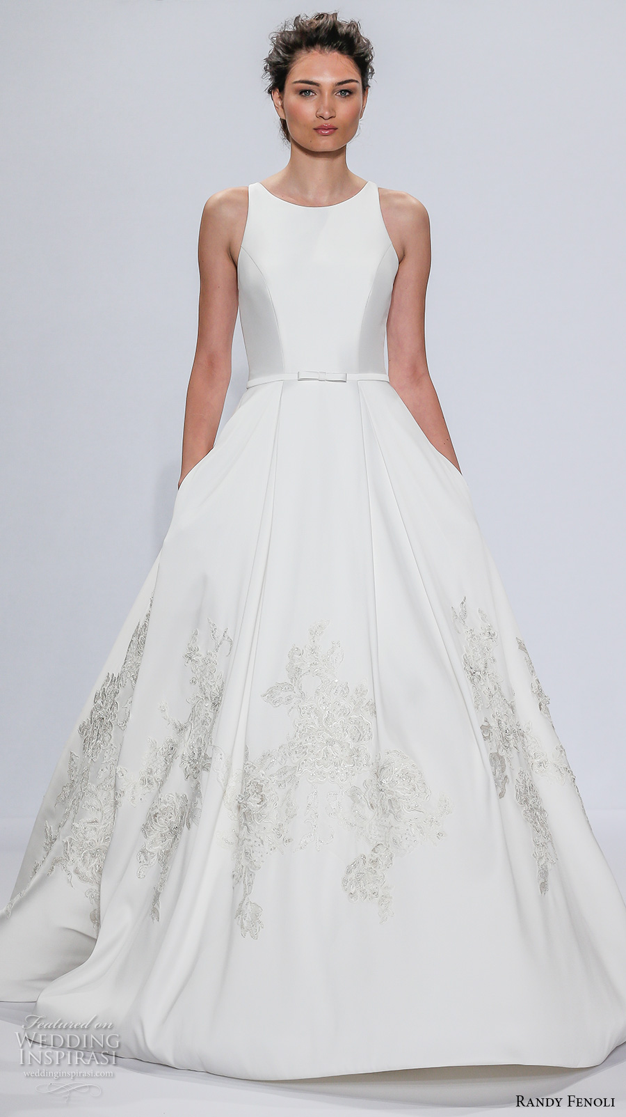 randy fenoli spring 2018 bridal sleeveless jewel neck simple clean embellished hem elegant a  line wedding dress with pockets covered back sweep train (06) mv