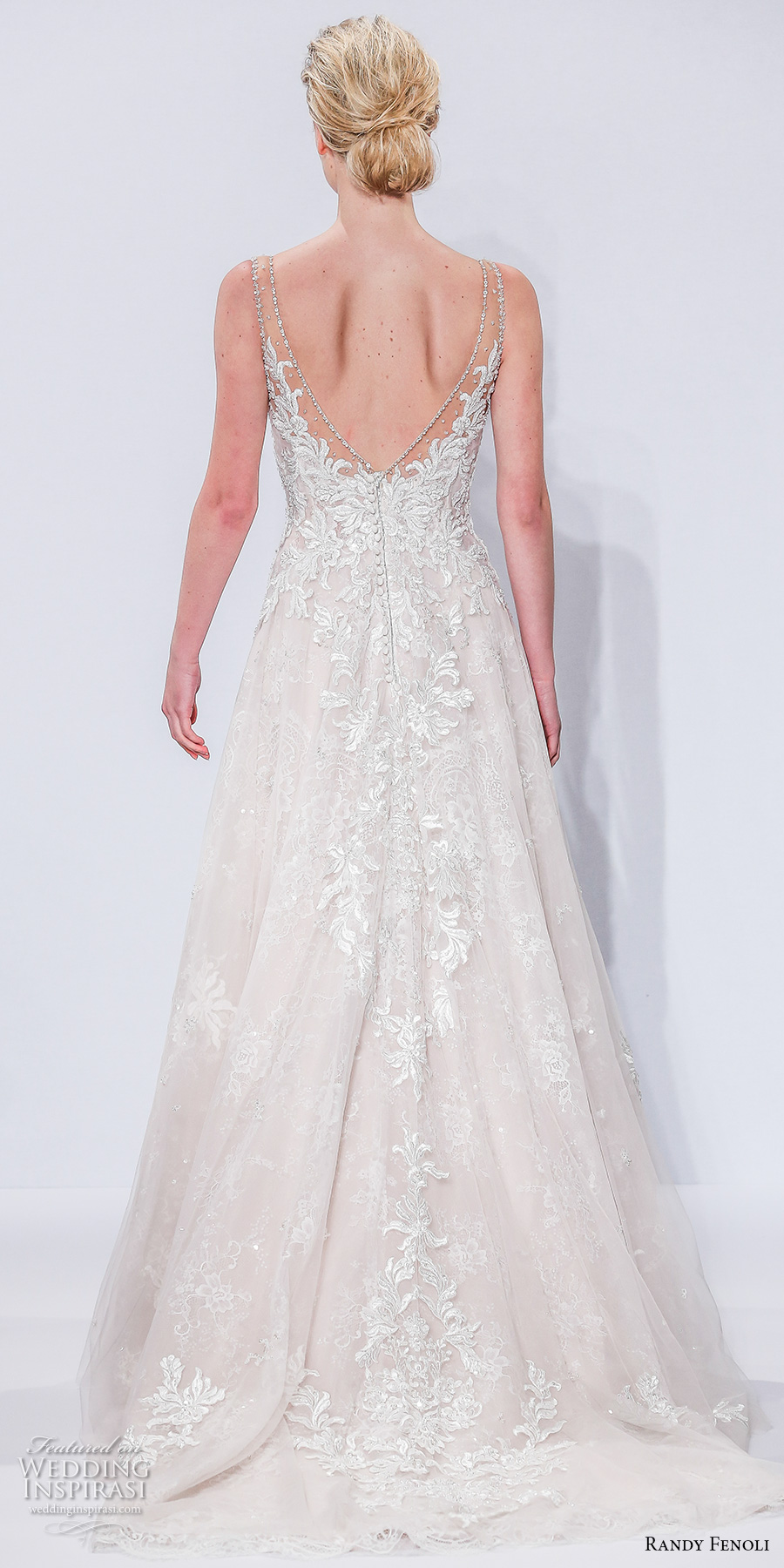randy fenoli spring 2018 bridal sleeveless sheer strap v neck heavily embellished bodice tulle skirt elegant romantic a  line wedding dress open v back sweep train (11) bv