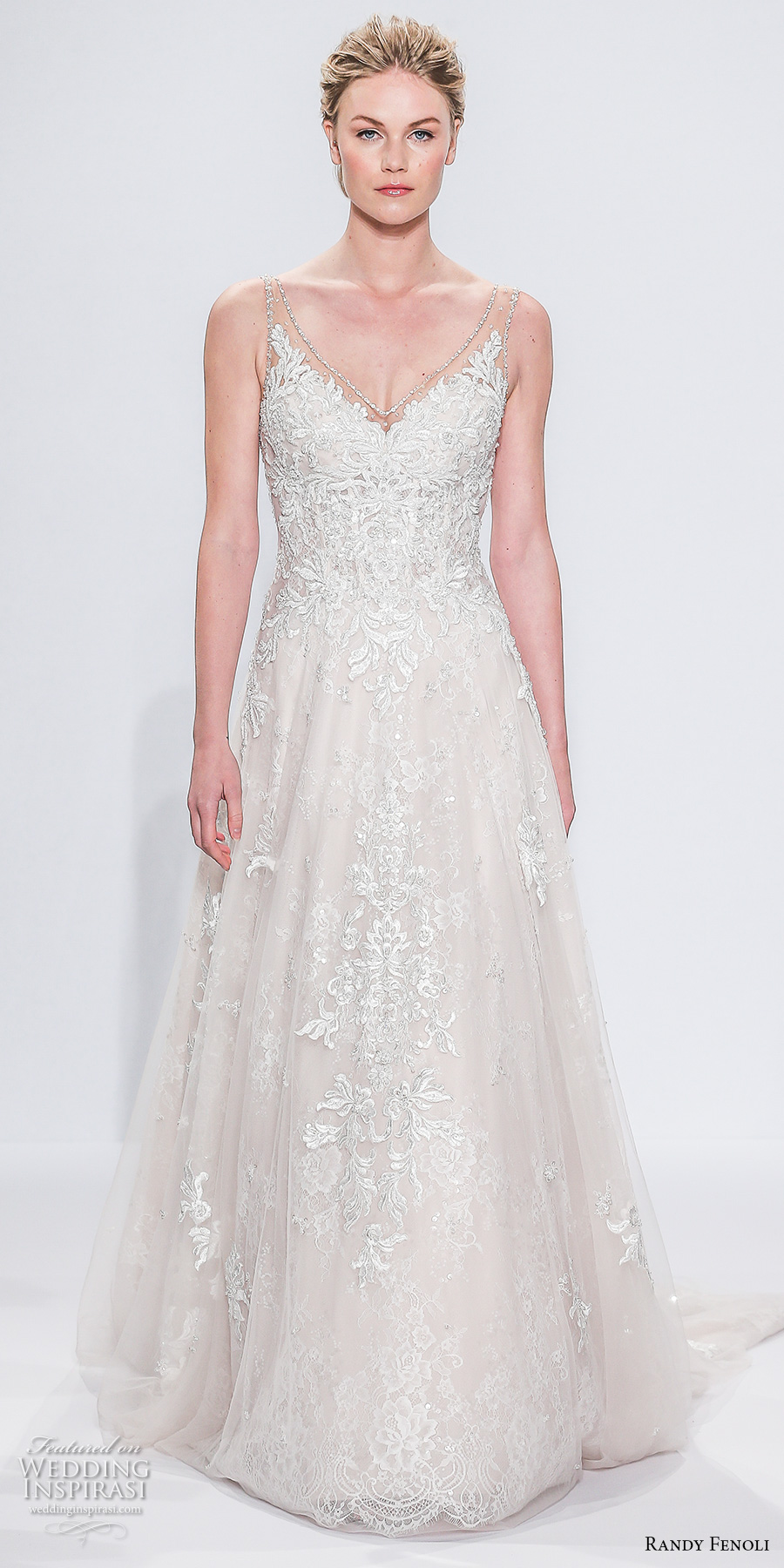 randy fenoli spring 2018 bridal sleeveless sheer strap v neck heavily embellished bodice tulle skirt elegant romantic a  line wedding dress open v back sweep train (11) mv
