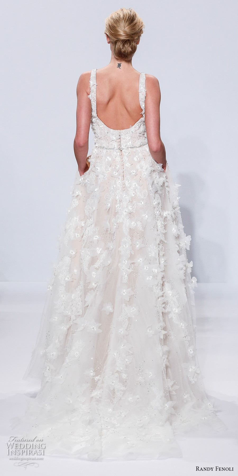 randy fenoli spring 2018 bridal sleeveless strap square neck full embellishment romantic elegant modified a  line wedding dress with pockets open square back short train (02) bv