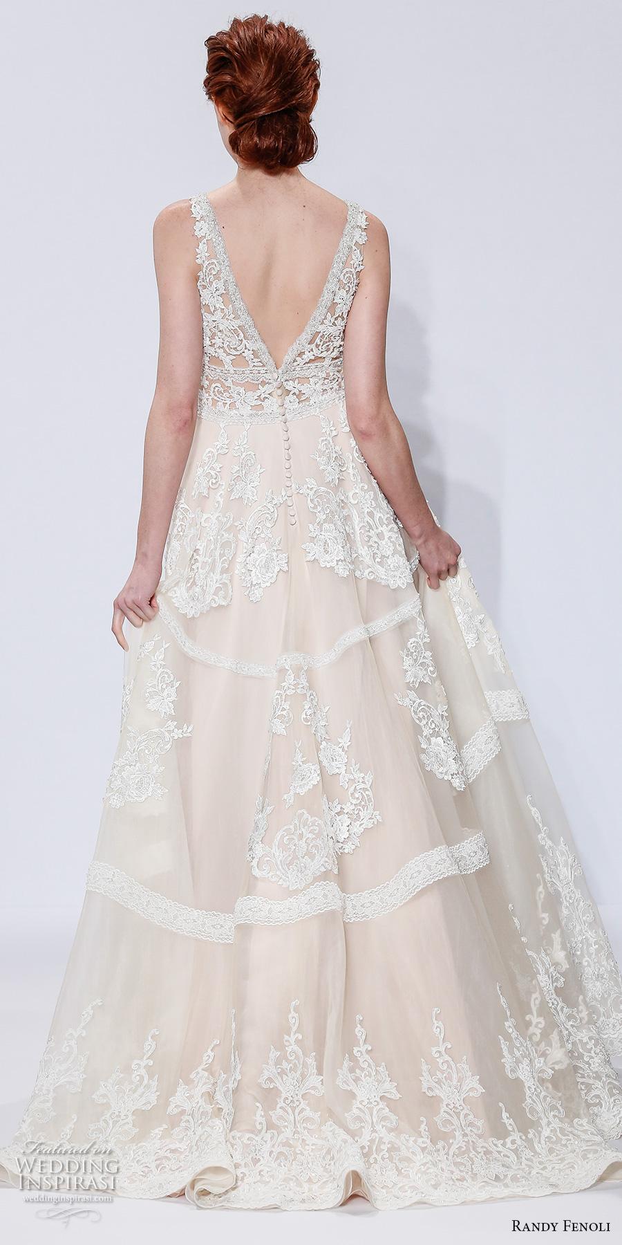 randy fenoli spring 2018 bridal sleeveless v neck full embellishment ivory color vintage elegant a  line wedding dress open v back sweep train (22) bv