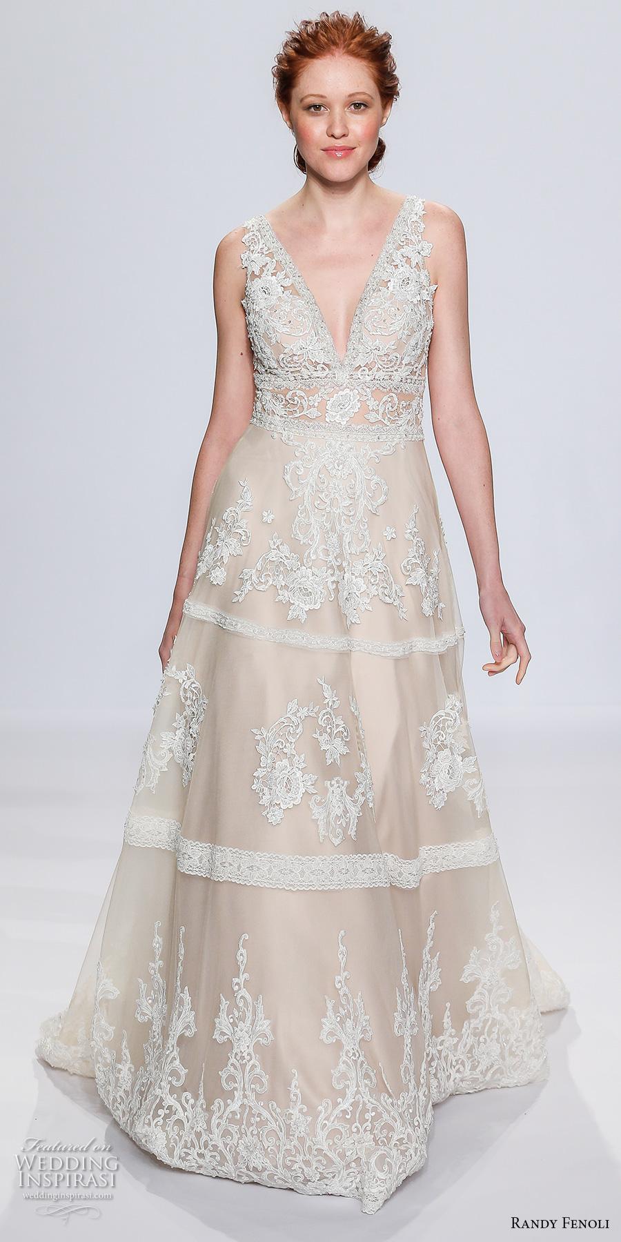randy fenoli spring 2018 bridal sleeveless v neck full embellishment ivory color vintage elegant a  line wedding dress open v back sweep train (22) mv