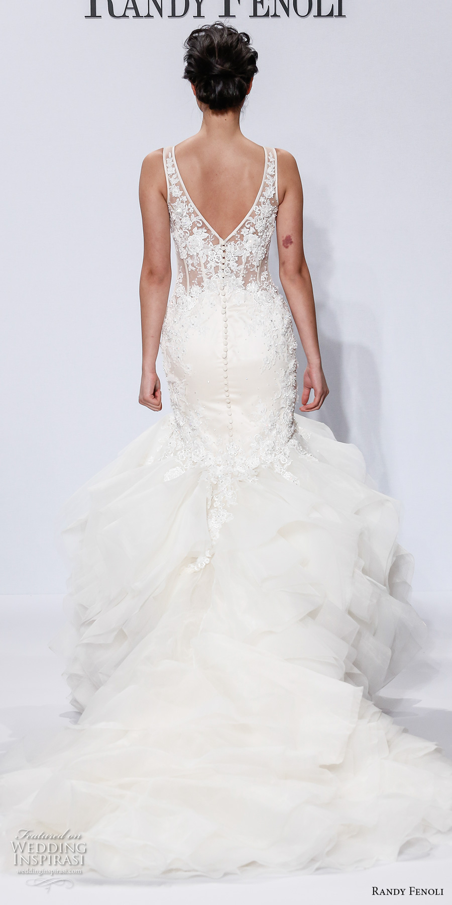 randy fenoli spring 2018 bridal sleeveless v neck heavily embellished bodice ruffled skirt elegant glamorous mermaid wedding dress open v back chapel train (24) bv