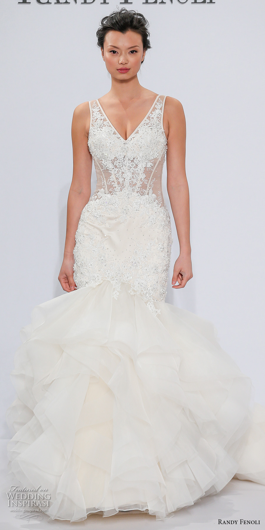 randy fenoli spring 2018 bridal sleeveless v neck heavily embellished bodice ruffled skirt elegant glamorous mermaid wedding dress open v back chapel train (24) mv