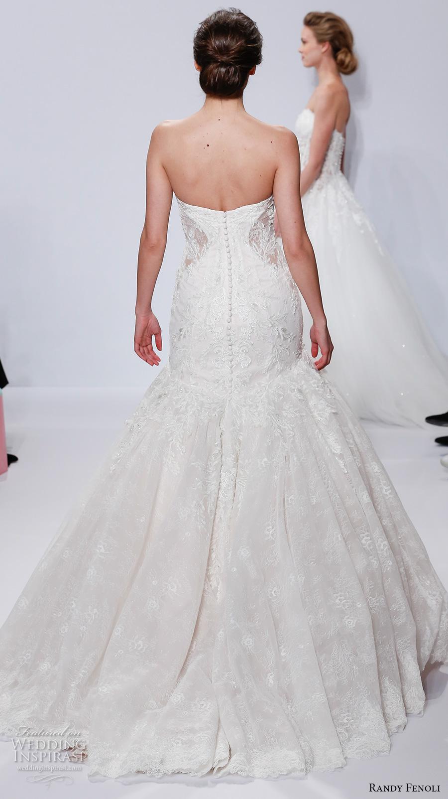 randy fenoli spring 2018 bridal strapless deep plunging sweetheart neckline heavily embellished bodice princess trumpet wedding dress chapel train (18) bv
