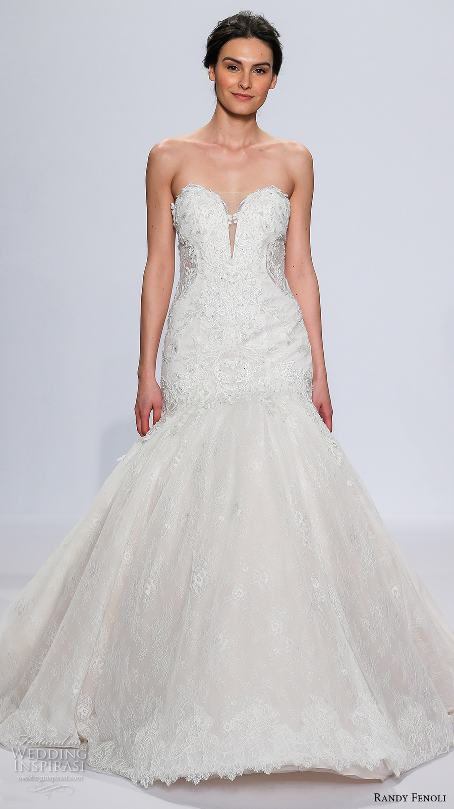 randy fenoli spring 2018 bridal strapless deep plunging sweetheart neckline heavily embellished bodice princess trumpet wedding dress chapel train (18) mv