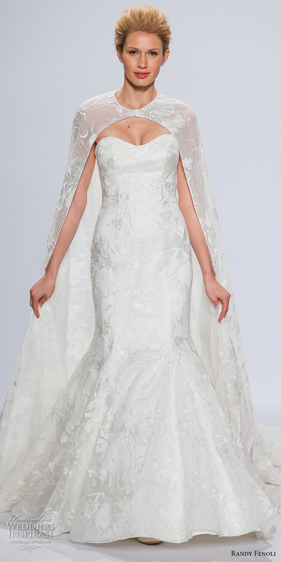 randy fenoli spring 2018 bridal strapless semi sweetheart neckline full embellished bodice elegant mermaid wedding dress full cape (16) mv