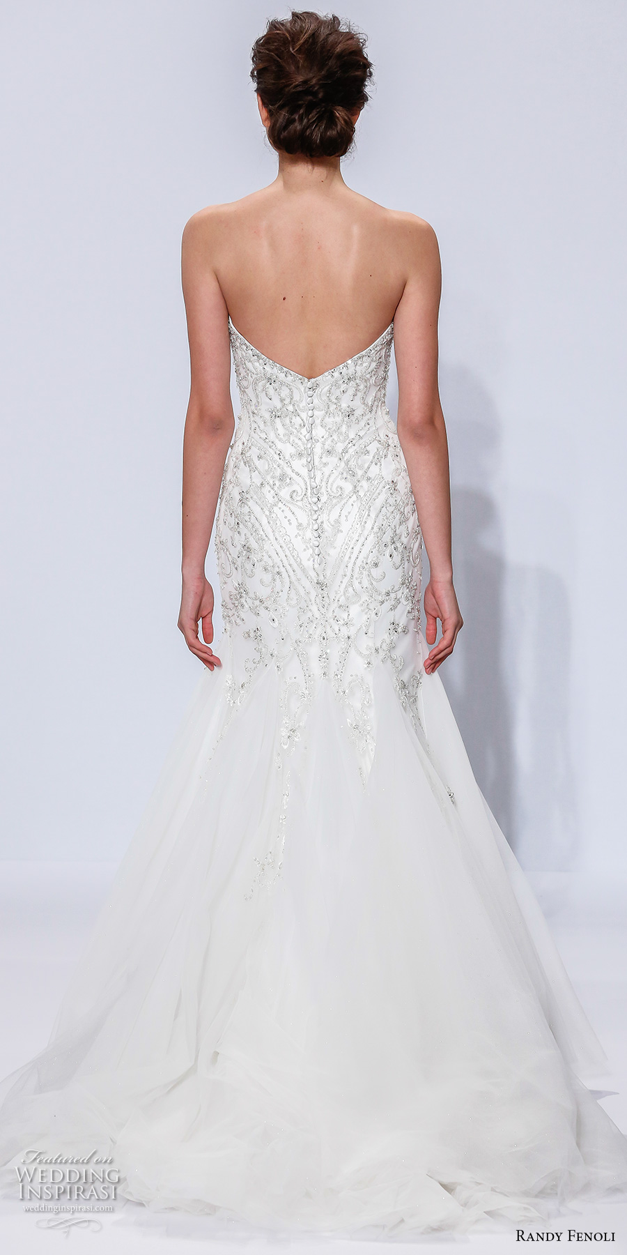 randy fenoli spring 2018 bridal strapless semi sweetheart neckline heavily embellished bodice beaded tulle skirt mermaid wedding dress chapel train (13) bv