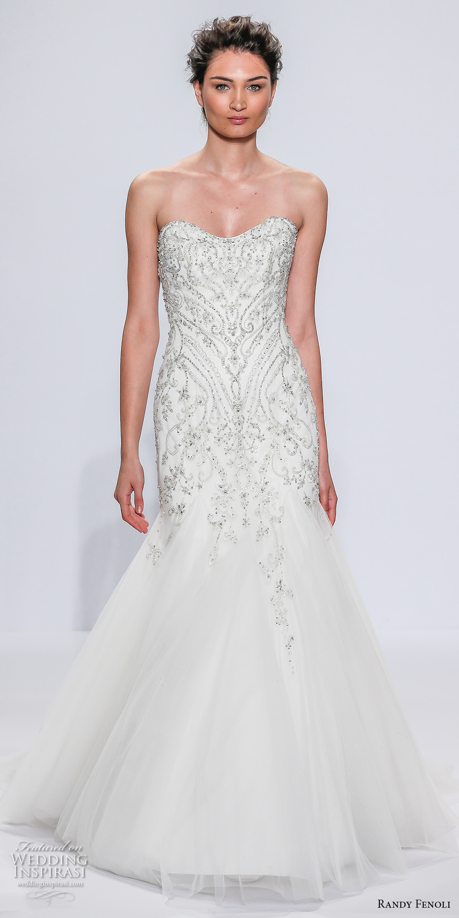 randy fenoli spring 2018 bridal strapless semi sweetheart neckline heavily embellished bodice beaded tulle skirt mermaid wedding dress chapel train (13) mv